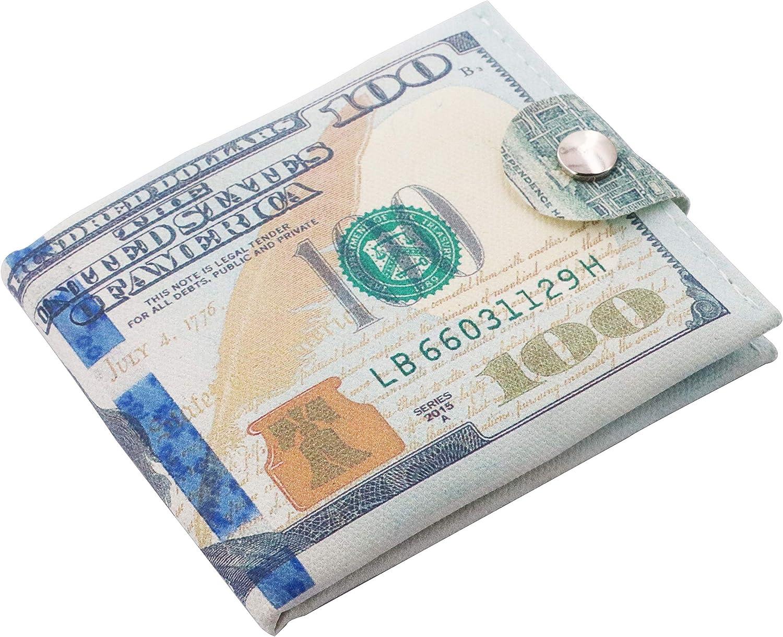 Minimalist Slim Wallet for Men- US Dollar Bill Wallet Credit Card Photo Holder Bifold- Zipper Design
