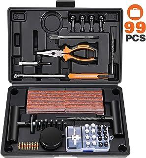 Kohree 99pcs Kit Reparación Neumáticos Pesados Kit Antipinchazos Coche Repara Mechas Pinchazos Kit Moto Juego de reparació...