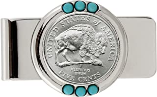 Coin Money Clip - Westward Journey Bison Nickel | Brass Moneyclip Layered in Silver-Tone Rhodium | Genuine Turquoise Stones | Holds Currency, Credit Cards, Cash | Genuine U.S. Coin | Certificate