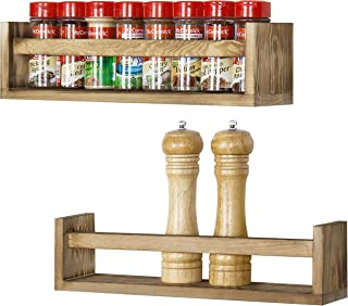 MyGift Wall-Mounted Light Torched Wood Spice Storage Racks, Set of 2