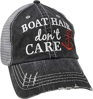 Katydid Boat Hair Don't Care Women's Distressed Grey Trucker Hat
