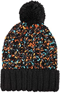 Arctic Paw Skull Adult Chunky Cable Knit Beanie With Yarn Pompom, Black