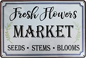 PXIYOU Farmers Fresh Flowers Market Retro Vintage Metal Sign Country Home Wall Farmhouse Decoration Wall Art Signs 8X12Inch