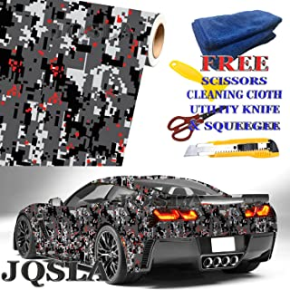 """JQSLA Digital RED Gray Camouflage Premium Vinyl Car Wrap Decal Film Sheet Air Channel Release Technology + Free Tool Kit (36"""" x 60"""" / 3FT x 5FT)"""