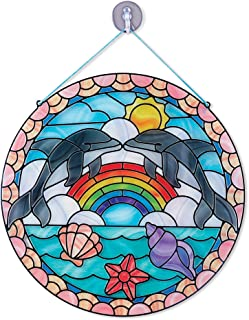 Melissa & Doug Stained Glass Made Easy Activity Kit, Arts and Crafts, Develops Problem Solving Skills, Dolphins, 180+ Stickers, Great Gift for Girls and Boys - Best for 5, 6, 7 Year Olds and Up