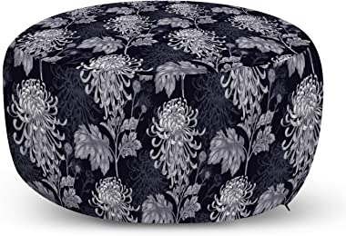 Ambesonne Floral Ottoman Pouf, Gothic Flower Bouquet Chrysanthemum Blooming Harvest Baroque Motif, Decorative Soft Foot Rest with Removable Cover Living Room and Bedroom, Indigo Pale Grey
