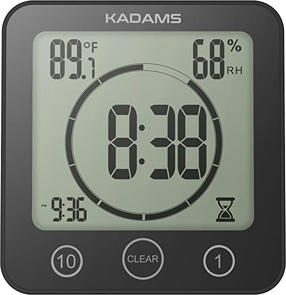KADAMS Digital Bathroom Shower Kitchen Wall Clock Timer With Alarm Waterproof For Water Spray Touch Screen Timer Temperature Humidity Display With Suction Cup Hanging Hole Shelf Stand Black