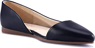 HSYZZY Women Flat Shoes Leather Slip On Comfort Casual Pointed Toe Ballet Flats Black