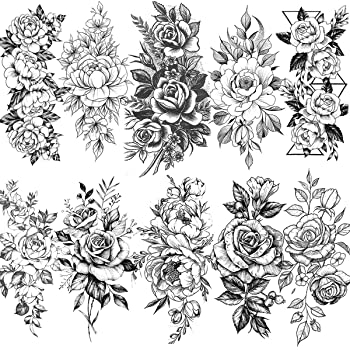 Amazon Com Vantaty 10 Sheets 3d Big Rose Peony Flower Girls Temporary Tattoos For Women Waterproof Black Tattoo Stickers 3d Blossom Lady Shoulder Tatoos Leaf Diy Costom Sexy Arm Chains Pattern Beauty