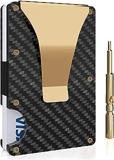 Carbon Fiber Wallet, Money Clip Wallet,Minimalist RFID Blocking Slim Metal Wallet for Men (Gold)