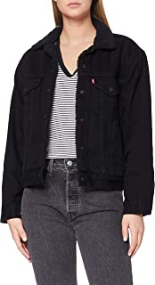 Levi's Ex-BF Sherpa Trucker Giacca in Jeans, Forever Black, S Donna