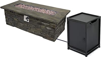 Christopher Knight Home 305417 Welsh Outdoor Light Weight Rectangular Fire Pit, Natural Stone/Black