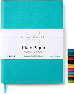 Minimalism Art, Soft Cover Notebook Journal, Composition B5 Size 7.6 X 10 inches, Blue, Plain Blank Page, 192 Pages, Fine PU Leather, Premium Thick Paper - 100gsm, Designed in San Francisco