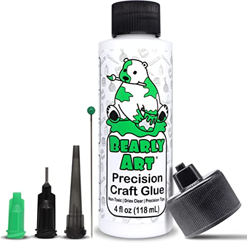 Bearly Art Precision Craft Glue - The Original - 4fl oz - Tip Kit Included - Dries Clear - Metal Tip - Wrinkle Resist...
