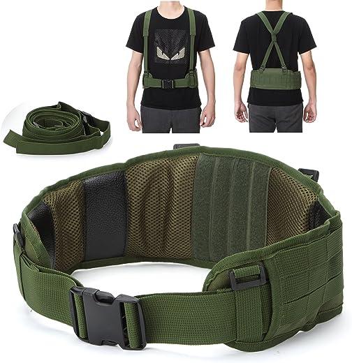 YAHILL® Molle Cinturón Táctico Ajustable Militar de Seguridad Equipo de Pistolas de Aire Sísmicas de Combate con Correa Gratis por Deporte al Aire Libre(Verde del ejército)