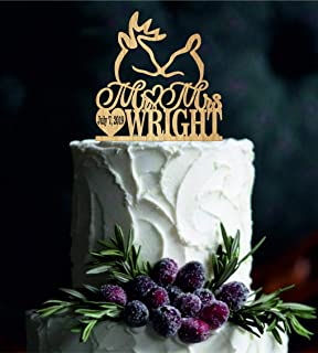 Buck and Doe Wedding Cake Topper Deer Wedding Cake Topper Personalized Cake Topper rustic Cake Topper Custom Cake Topper Country Topper