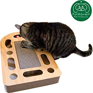 Furhaven Pet Cat Furniture   Corrugated Cat Scratcher Cardboard & Pet House Tower Condo Apartment w/ Catnip for Cats & Kittens - Available in Multiple Styles