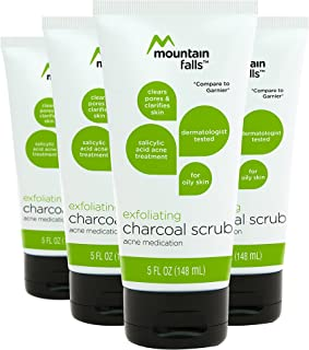 Mountain Falls Exfoliating Charcoal Scrub Salicylic Acid Acne Medication for Oily Skin, 5 Fluid Ounce (Pack of 4)