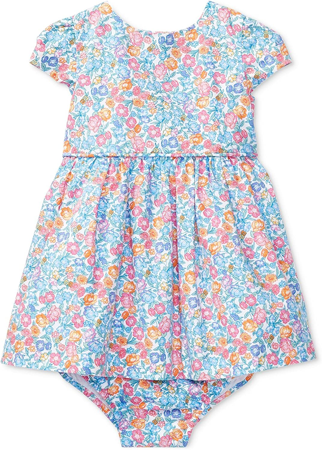 Printed cotton baby dress buttoned back