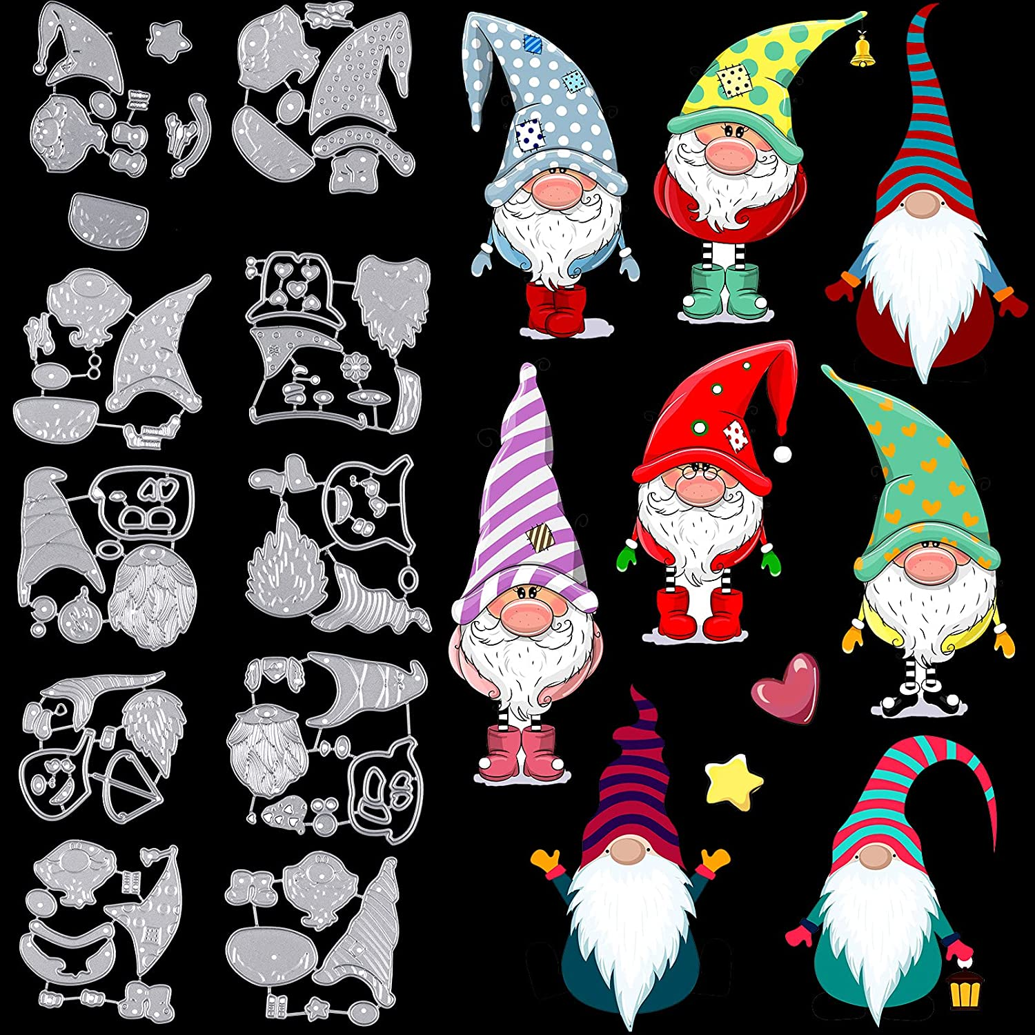 10 Pieces Gnome Cutting Dies Emb Cheap El Paso Mall SALE Start Metal Steel Carbon
