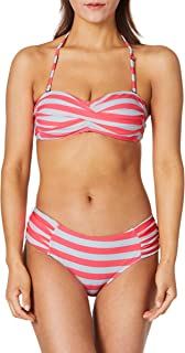 Ocean Blues Women's Bikini Set Ruched Bottom Twist Bandeau Two Pieces Swimsuit