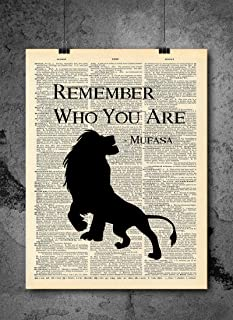 Lion King - Mufasa Remember Who You Are Quote | Inspirational Art - Vintage Dictionary Print 8x10 inch Home Vintage Art Prints Wall Art for Home Decor Wall Decorations Upcycled Book Art Unframed