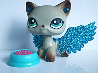 USA Warehouse LPSBEST LPS Shorthair Cat 391 Blue Eyes Grey Egyptian Siamese Kitty Kitten with Magnet with Accessories Wings Earring Food Bowl Toy Figure Boys Girls Kids Gift
