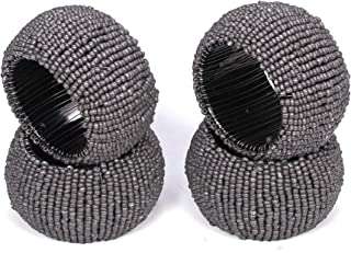 Handmade Beaded Napkin Rings Set, Set of 4, Beaded Napkin Holders, 2 Inch, Hand Made by Skilled artisans - A Beautiful complement to Your Dinner Table décor - Charcoal