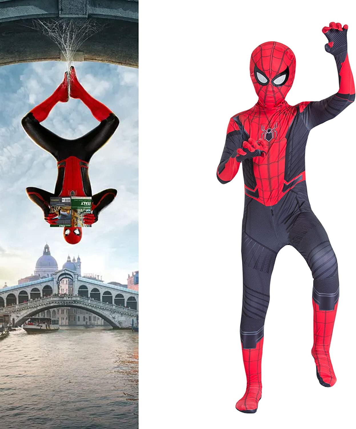 YME Superhero Spider-Man:Miles Morales Costume for Kids,Spiderman:Far from Home Cosplay Costumes for Boys