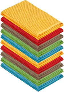 (10 Pack Assorted Colors) - DecorRack 10 Pack Kitchen Dish Towels, 100% Cotton, 30cm x 30cm Dish Cloths, Perfect Cleaning ...