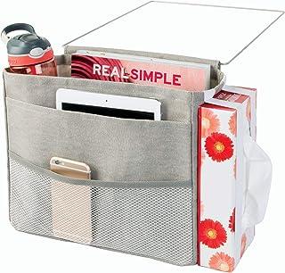 iDesign Wren Cotton Bedside Caddy, 3-Pocket Storage Organizer for Phone, Tablet, Magazines, Water Bottle, Remote Control, 12.5