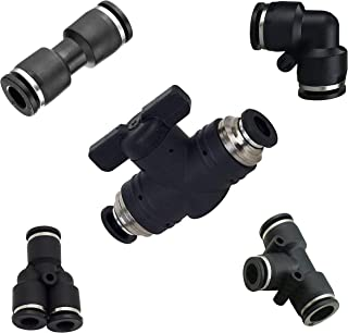 Utah Pneumatic Push to Connect Air Fittngs Kit 1 Straight Union Ball Valve 1/4