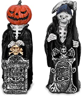 OUSFOT Halloween Decorations Spooky Grim Reaper & Pumpkin Man, Multicolor Light Scary Gothic Decor Sculptures & Figurines for Indoor Outdoor Office Home 2 Pack (Mix-Color)