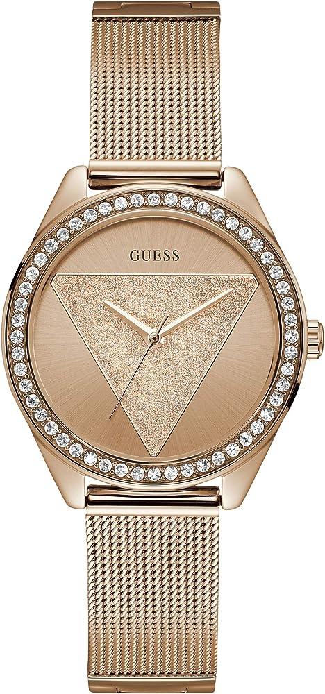 Guess orologio analogico da donna , in acciaio lucido ip oro rosa con cristalli W1142L4