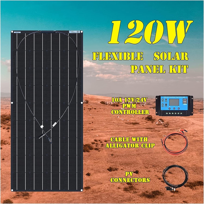 ZhuFengshop Kit De Panel Solar Flexible, 18v, 120 W, 240 W, 360W, 480W, para Batería De 12V Y 24V, para Coche, Autocaravana, Hogar, Carga De Energía Al Aire Libre (Color : 120W Kit Black)