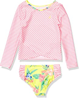 Nautica Girls' Rashguard Swim Suit Set