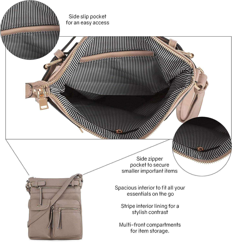 SG SUGU Katie Lightweight Medium Crossbody Bag Shoulder Bag with Multi Pocket for Women