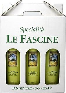 Le Fascine Olio Extravergine di Oliva 100% Italiano Confezione 3 Bottiglie da 750 ml (2,250 Litri) Prodotto Da Olive Mono ...