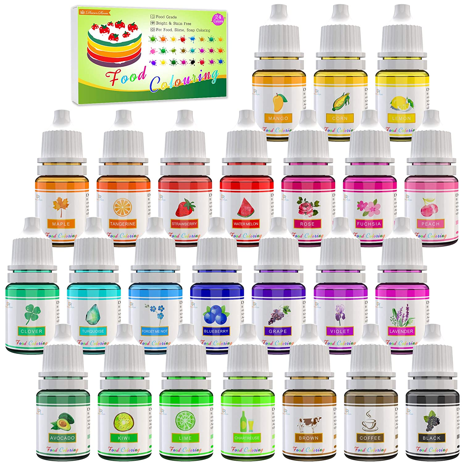 24 Color Japan's largest assortment Max 57% OFF Food Coloring Liquid Concentrated - Cake