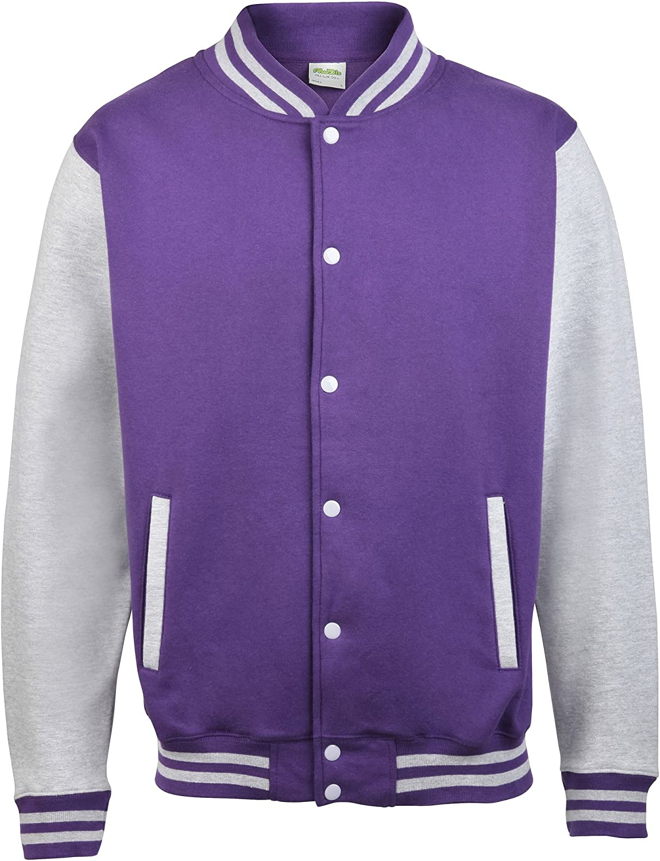 Awdis Unisex Varsity Jacket (XXL) (Purple/Heather Gray)