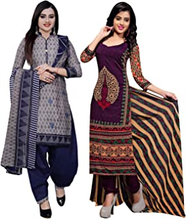 Rajnandini Women's Grey And Purple Cotton Printed Unstitched Salwar Suit Material (Combo Of 2) (Free Size)