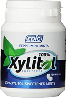Epic Dental 100% Xylitol Sweetened Breath Mints, Peppermint, 180 Count