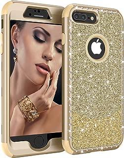 iPhone 8 Plus Case, iPhone 7 Plus Case, Ranyi Luxury Glitter Sparkle Bling Shiny Diamond Rhinestones Shock Absorbing 360 Full Body Protection Rugged Case for iPhone 7 Plus/iPhone 8 Plus (Gold)