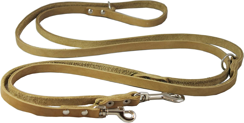 Multifunctional Leather Dog Leash, Adjustable Schutzhund 6 Way European Lead Beige 49 94  Long, 1 2  Wide (12 mm) for Medium Dogs