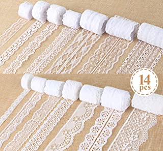 ilauke White Lace Ribbon 14 Rolls Lace Trims 0.6 to 2.1 inch Cream Lace with Assorted Pattern for Sewing and Crafts, 3.28 Yards Each