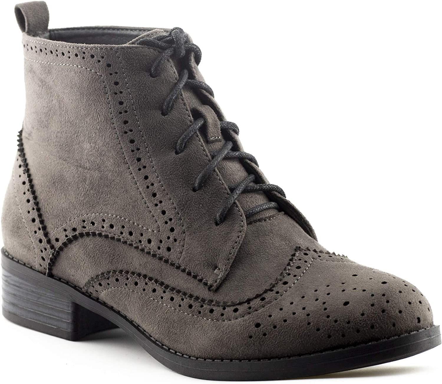 CALICO KIKI Women's Oxford Ankle Dress Boots - Low Stacked Heel - Perforated Lace up Wingtip Flats Booties