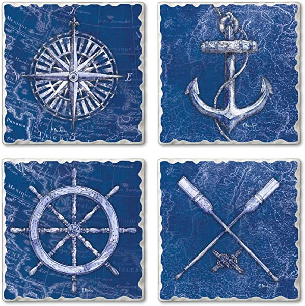 Highland Home Assorted Tumbled Tile Coaster Set Vintage Nautical