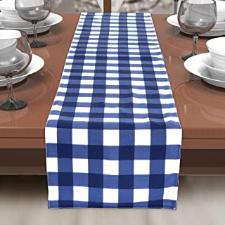 Blue White Gingham Checker Indoor Outdoor Stain Resistant Spill Bead Up Fabric Table Runner 13