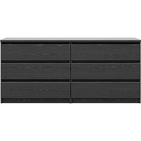 Amazon Com Tvilum Scottsdale 6 Drawer Double Dresser Black Wood Grain Furniture Decor