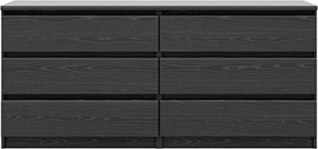 Tvilum Scottsdale 6 Drawer Double Dresser in Black Woodgrain